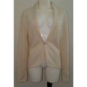 Jones New York Ivory Cardigan Sweater Faux Pearls